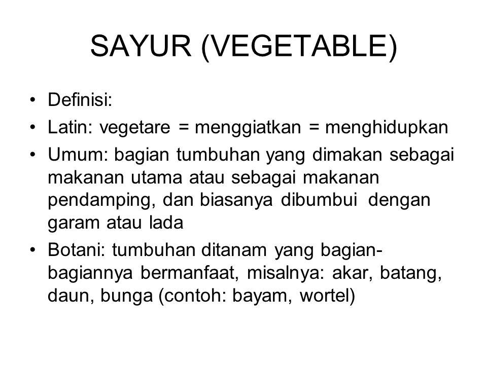 SAYUR (VEGETABLE) Definisi: Latin: vegetare = menggiatkan = menghidupkan Umum: bagian tumbuhan yang dimakan sebagai makanan utama atau sebagai makanan