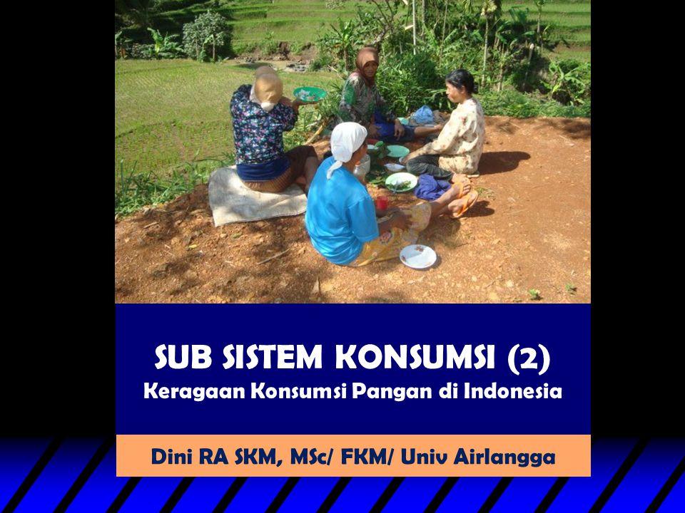SUB SISTEM KONSUMSI (2) Keragaan Konsumsi Pangan di Indonesia Dini RA SKM, MSc/ FKM/ Univ Airlangga