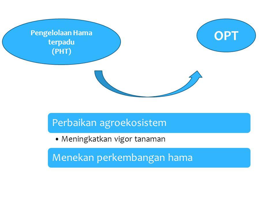 Perbaikan agroekosistem Meningkatkan vigor tanaman Menekan perkembangan hama OPT Pengelolaan Hama terpadu (PHT)
