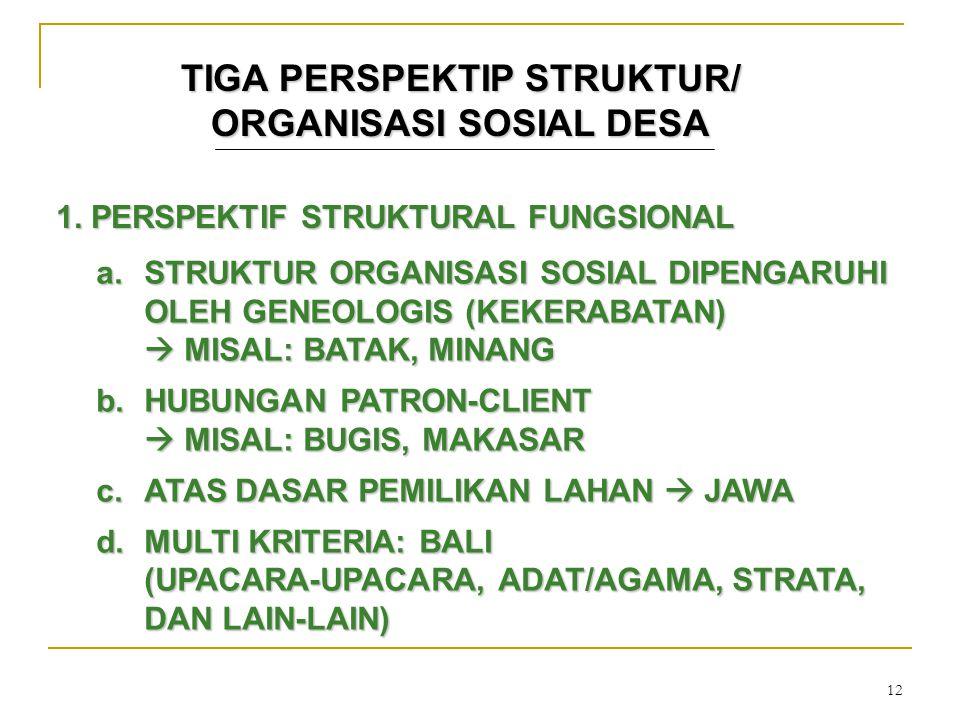 12 TIGA PERSPEKTIP STRUKTUR/ ORGANISASI SOSIAL DESA 1. PERSPEKTIF STRUKTURAL FUNGSIONAL a.STRUKTUR ORGANISASI SOSIAL DIPENGARUHI OLEH GENEOLOGIS (KEKE