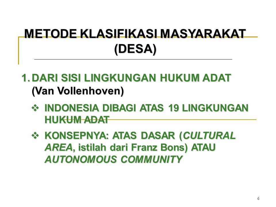 6 METODE KLASIFIKASI MASYARAKAT (DESA) 1.DARI SISI LINGKUNGAN HUKUM ADAT (Van Vollenhoven)  INDONESIA DIBAGI ATAS 19 LINGKUNGAN HUKUM ADAT  KONSEPNY