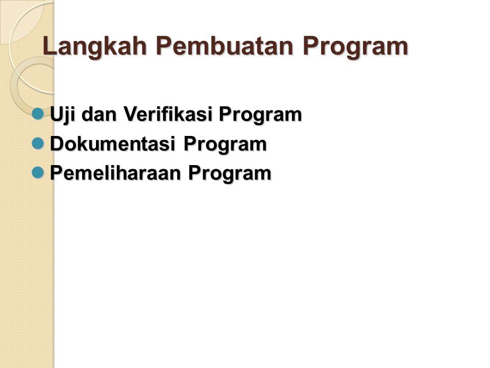 Langkah Pembuatan Program Uji dan Verifikasi Program Uji dan Verifikasi Program Dokumentasi Program Dokumentasi Program Pemeliharaan Program Pemeliharaan Program