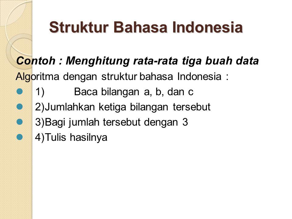Struktur Bahasa Indonesia Contoh : Menghitung rata-rata tiga buah data Algoritma dengan struktur bahasa Indonesia : 1) Baca bilangan a, b, dan c 2)Jumlahkan ketiga bilangan tersebut 3)Bagi jumlah tersebut dengan 3 4)Tulis hasilnya