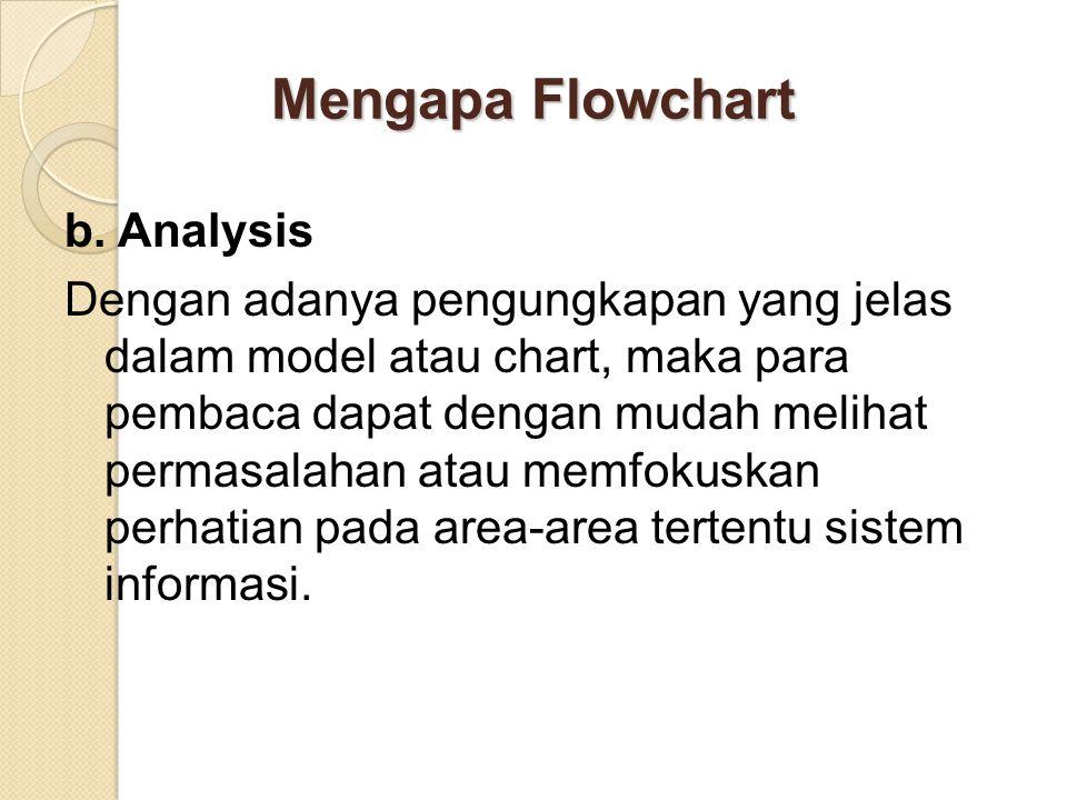 Mengapa Flowchart b. Analysis Dengan adanya pengungkapan yang jelas dalam model atau chart, maka para pembaca dapat dengan mudah melihat permasalahan