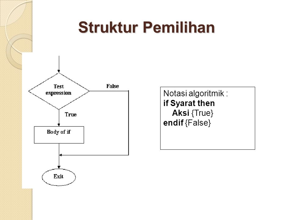 Struktur Pemilihan Notasi algoritmik : if Syarat then Aksi {True} endif {False}