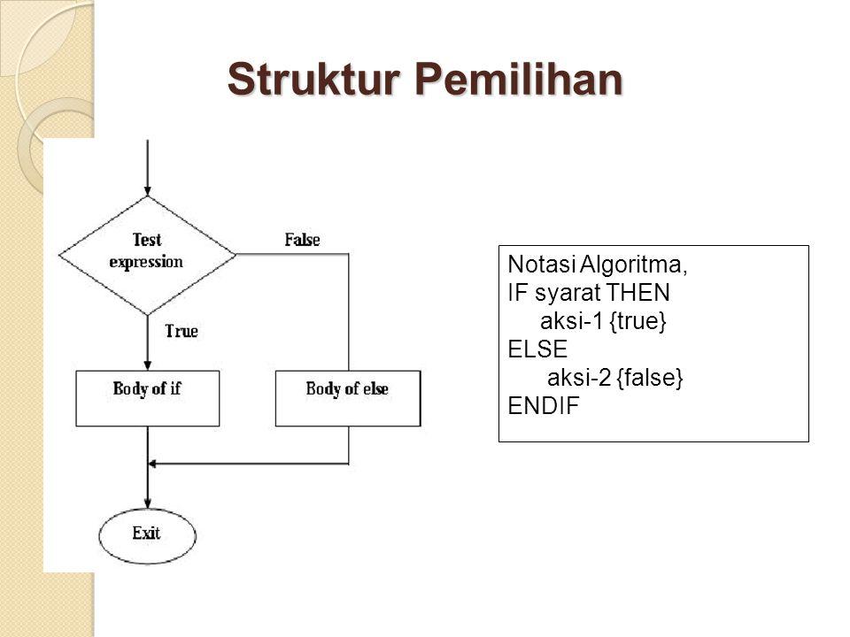 Struktur Pemilihan Notasi Algoritma, IF syarat THEN aksi-1 {true} ELSE aksi-2 {false} ENDIF