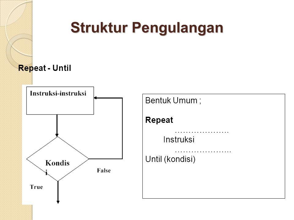Struktur Pengulangan Repeat - Until Bentuk Umum ; Repeat ……………….. Instruksi ………………... Until (kondisi)