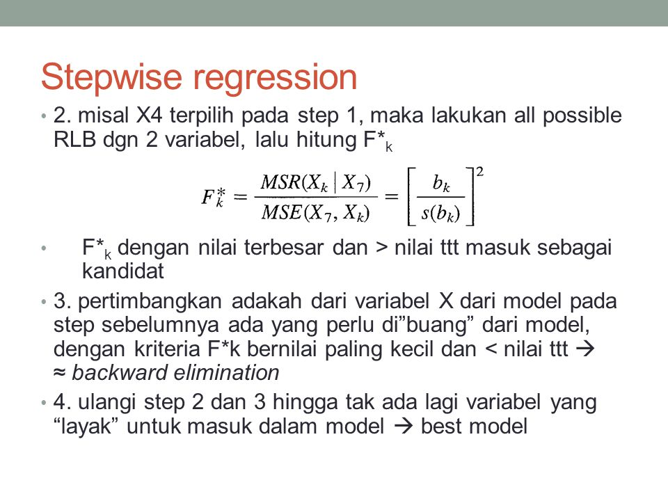 Stepwise regression 2.