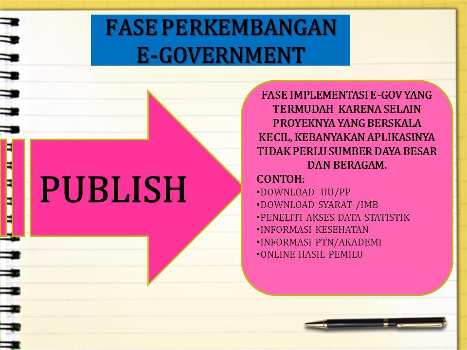 FASE PERKEMBANGAN E-GOVERNMENT PUBLISH FASE IMPLEMENTASI E-GOV YANG TERMUDAH KARENA SELAIN PROYEKNYA YANG BERSKALA KECIL, KEBANYAKAN APLIKASINYA TIDAK PERLU SUMBER DAYA BESAR DAN BERAGAM.