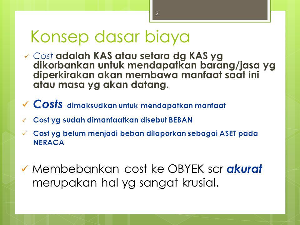 Konsep dasar biaya Cost adalah KAS atau setara dg KAS yg dikorbankan untuk mendapatkan barang/jasa yg diperkirakan akan membawa manfaat saat ini atau masa yg akan datang.