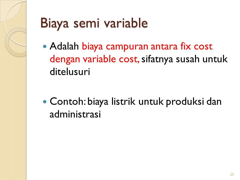 Biaya semi variable Adalah biaya campuran antara fix cost dengan variable cost, sifatnya susah untuk ditelusuri Contoh: biaya listrik untuk produksi dan administrasi 20