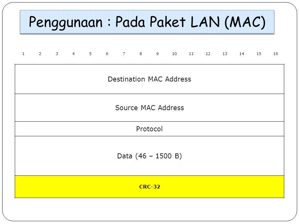Penggunaan : Pada Paket LAN (MAC) 12345678910111213141516 Destination MAC Address Source MAC Address Protocol Data (46 – 1500 B) CRC-32