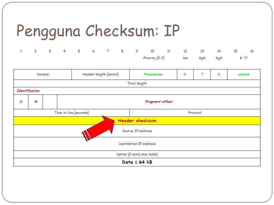 Pengguna Checksum: IP 12345678910111213141516 Priority (0-7)lowhigh  1 VersionHeader length (dword)PrecedenceDTRunused Total length Identification DMFragment offset Time to live (seconds)Protocol Header checksum Source IP address Destination IP address Option (0 word atau lebih) Data  64 kB