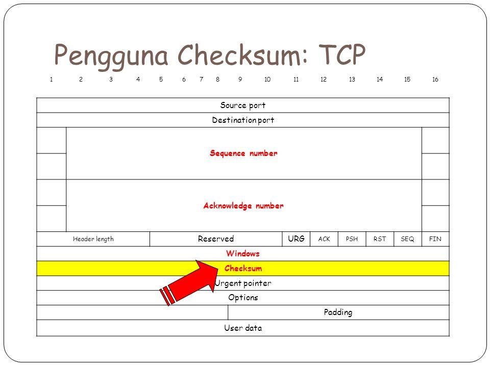 Pengguna Checksum: TCP 12345678910111213141516 Source port Destination port Sequence number Acknowledge number Header length ReservedURG ACKPSHRSTSEQFIN Windows Checksum Urgent pointer Options Padding User data