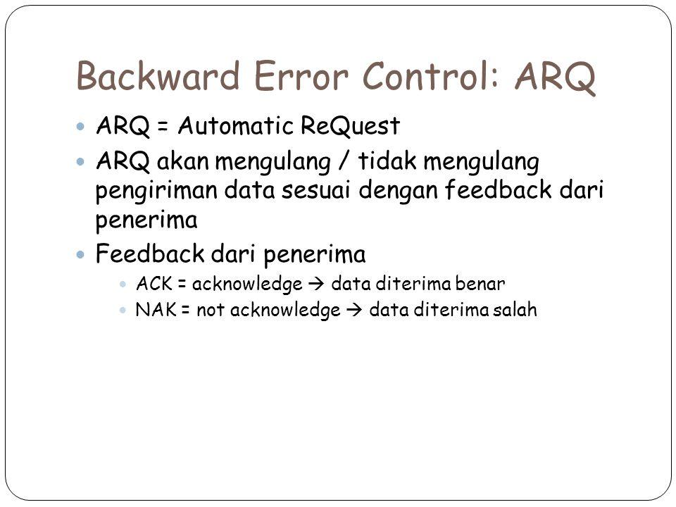 Backward Error Control: ARQ ARQ = Automatic ReQuest ARQ akan mengulang / tidak mengulang pengiriman data sesuai dengan feedback dari penerima Feedback dari penerima ACK = acknowledge  data diterima benar NAK = not acknowledge  data diterima salah