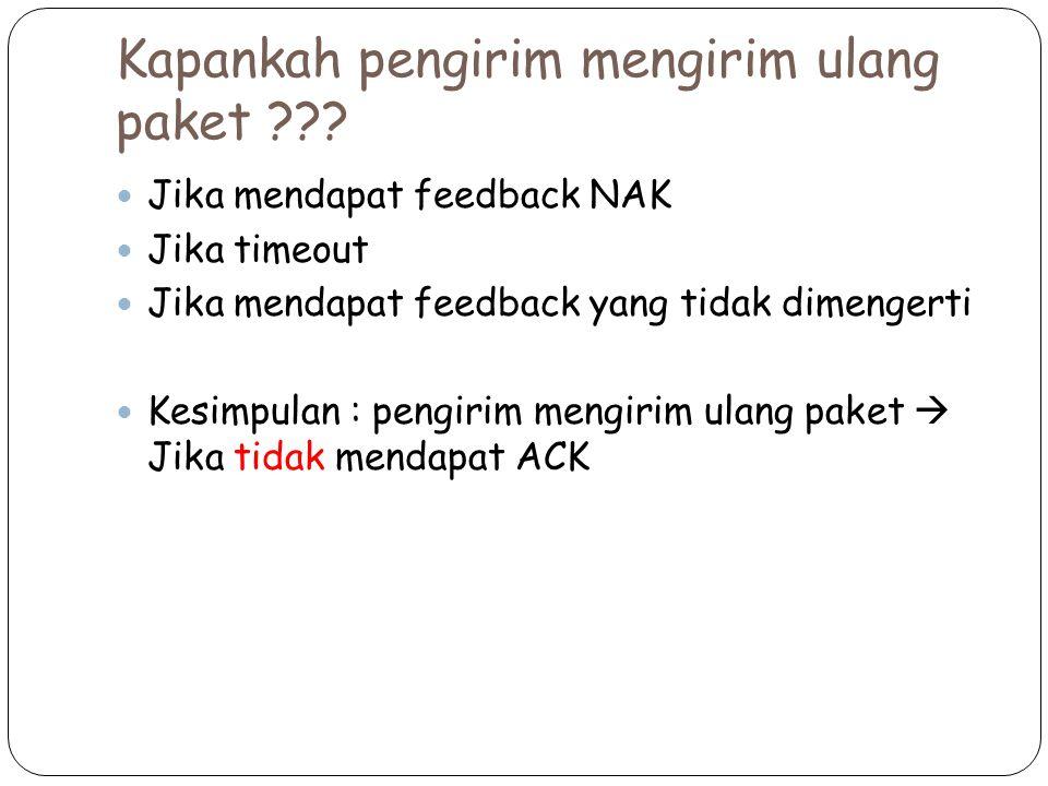 Kapankah pengirim mengirim ulang paket ??? Jika mendapat feedback NAK Jika timeout Jika mendapat feedback yang tidak dimengerti Kesimpulan : pengirim
