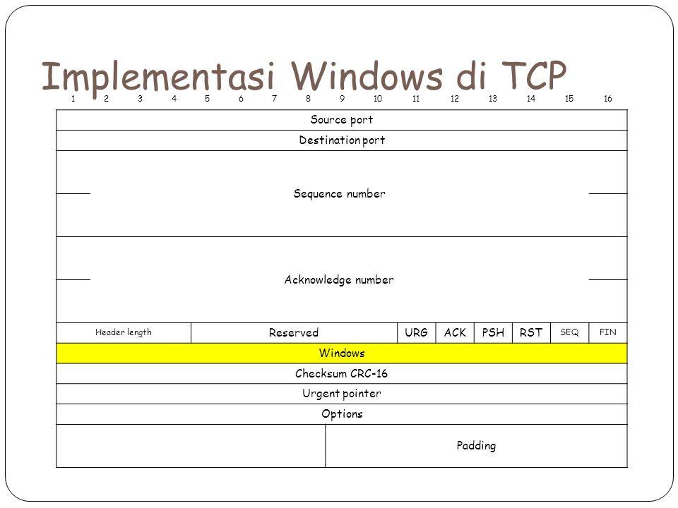 Implementasi Windows di TCP 12345678910111213141516 Source port Destination port Sequence number Acknowledge number Header length ReservedURGACKPSHRST SEQFIN Windows Checksum CRC-16 Urgent pointer Options Padding