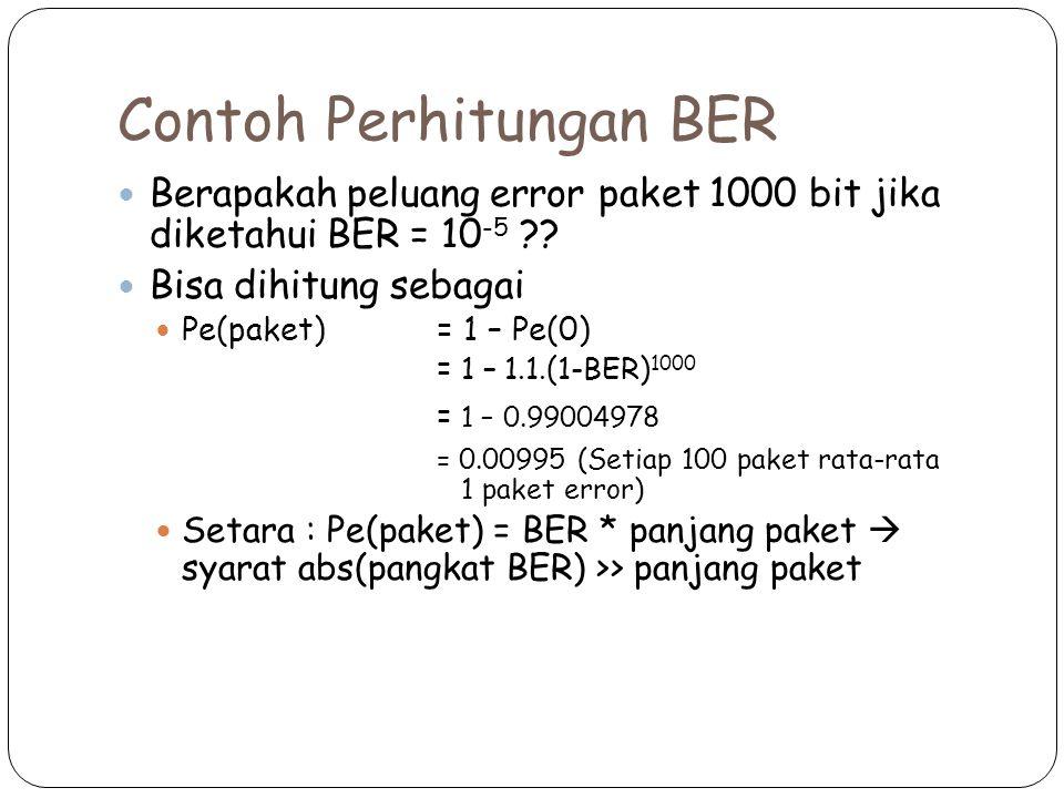 Contoh Perhitungan BER Berapakah peluang error paket 1000 bit jika diketahui BER = 10 -5 ?? Bisa dihitung sebagai Pe(paket) = 1 – Pe(0) = 1 – 1.1.(1-B