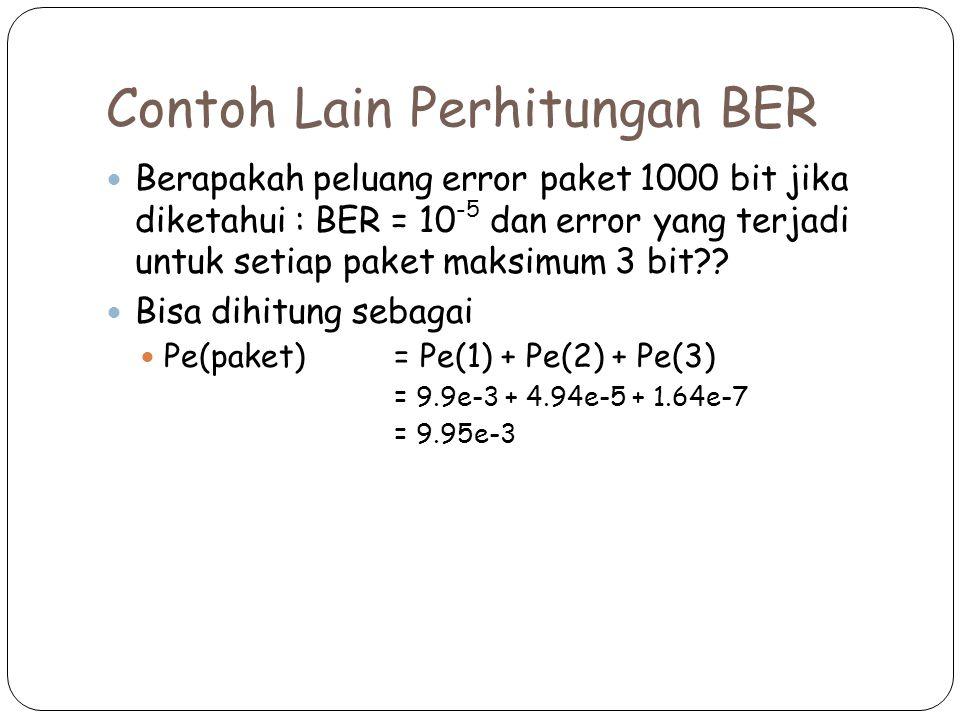 Contoh Lain Perhitungan BER Berapakah peluang error paket 1000 bit jika diketahui : BER = 10 -5 dan error yang terjadi untuk setiap paket maksimum 3 bit?.