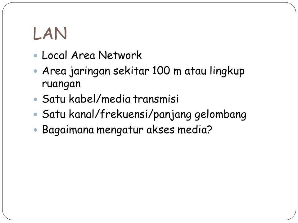 LAN Local Area Network Area jaringan sekitar 100 m atau lingkup ruangan Satu kabel/media transmisi Satu kanal/frekuensi/panjang gelombang Bagaimana mengatur akses media?