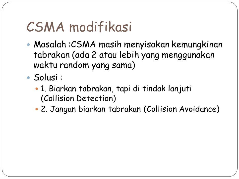 CSMA modifikasi Masalah :CSMA masih menyisakan kemungkinan tabrakan (ada 2 atau lebih yang menggunakan waktu random yang sama) Solusi : 1. Biarkan tab