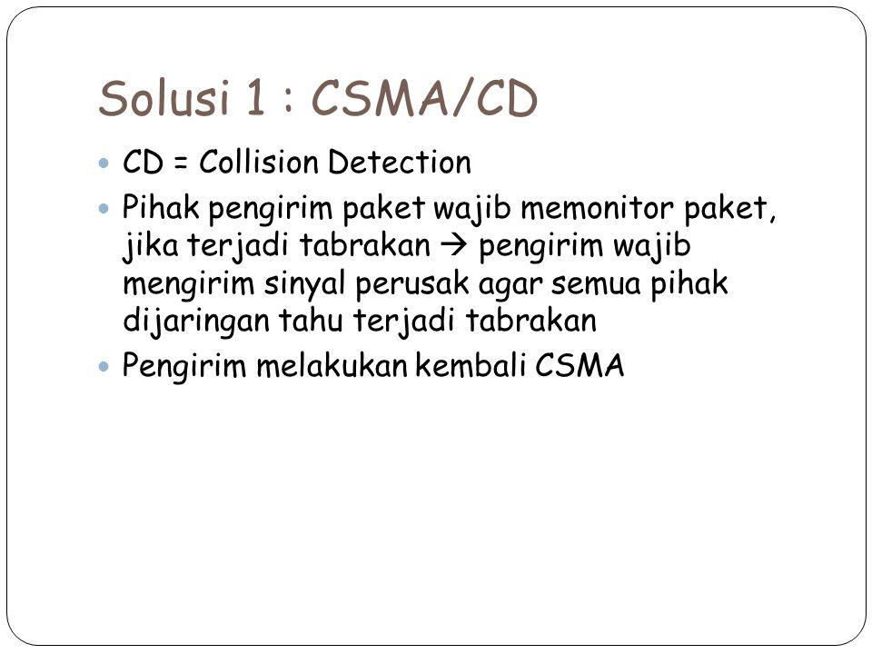 Solusi 1 : CSMA/CD CD = Collision Detection Pihak pengirim paket wajib memonitor paket, jika terjadi tabrakan  pengirim wajib mengirim sinyal perusak agar semua pihak dijaringan tahu terjadi tabrakan Pengirim melakukan kembali CSMA
