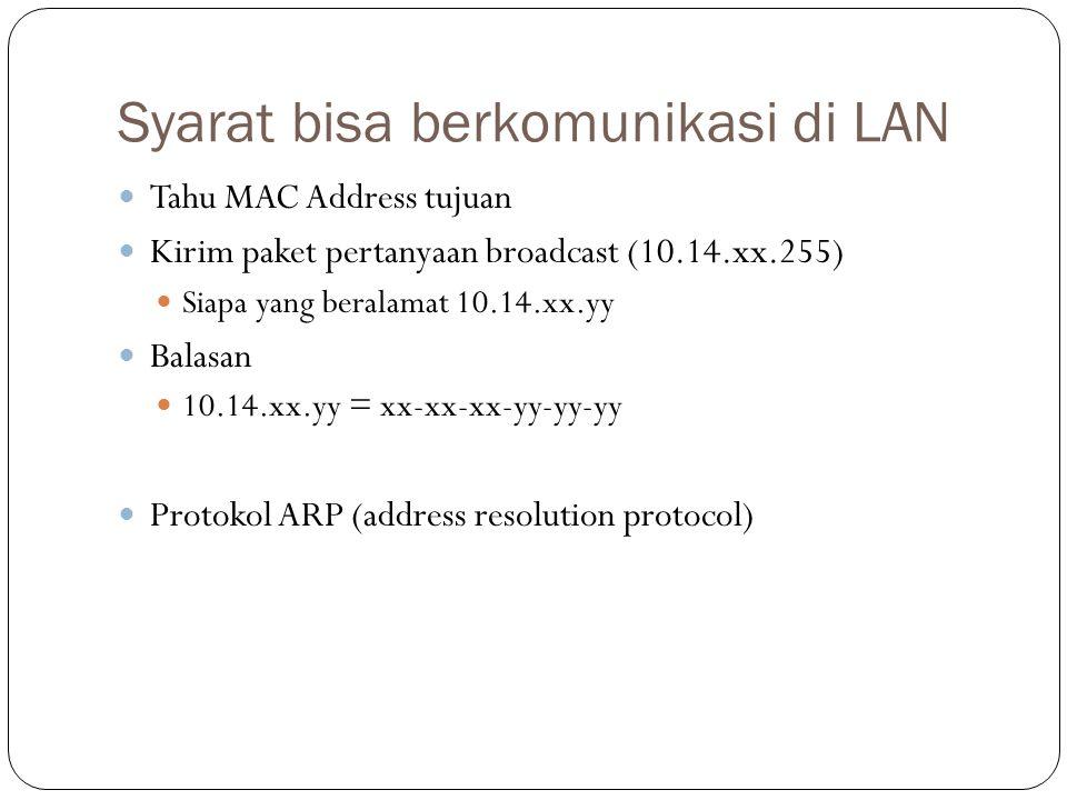 Syarat bisa berkomunikasi di LAN Tahu MAC Address tujuan Kirim paket pertanyaan broadcast (10.14.xx.255) Siapa yang beralamat 10.14.xx.yy Balasan 10.14.xx.yy = xx-xx-xx-yy-yy-yy Protokol ARP (address resolution protocol)