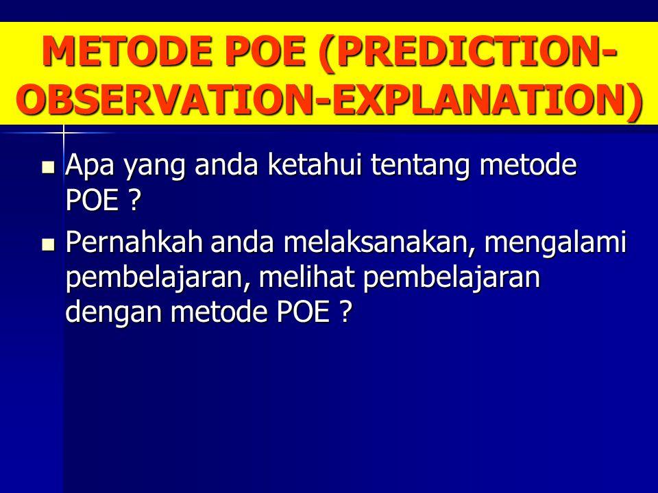 METODE POE (PREDICTION- OBSERVATION-EXPLANATION) Apa yang anda ketahui tentang metode POE ? Apa yang anda ketahui tentang metode POE ? Pernahkah anda