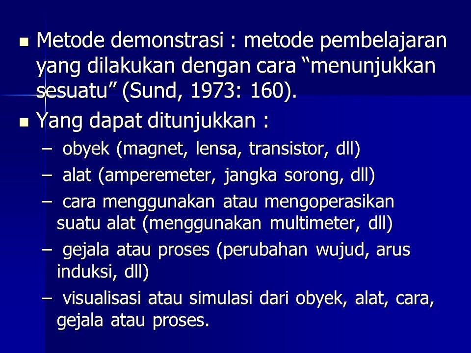 """Metode demonstrasi : metode pembelajaran yang dilakukan dengan cara """"menunjukkan sesuatu"""" (Sund, 1973: 160). Metode demonstrasi : metode pembelajaran"""