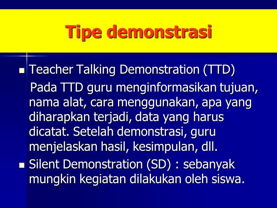 Tipe demonstrasi Teacher Talking Demonstration (TTD) Teacher Talking Demonstration (TTD) Pada TTD guru menginformasikan tujuan, nama alat, cara menggu