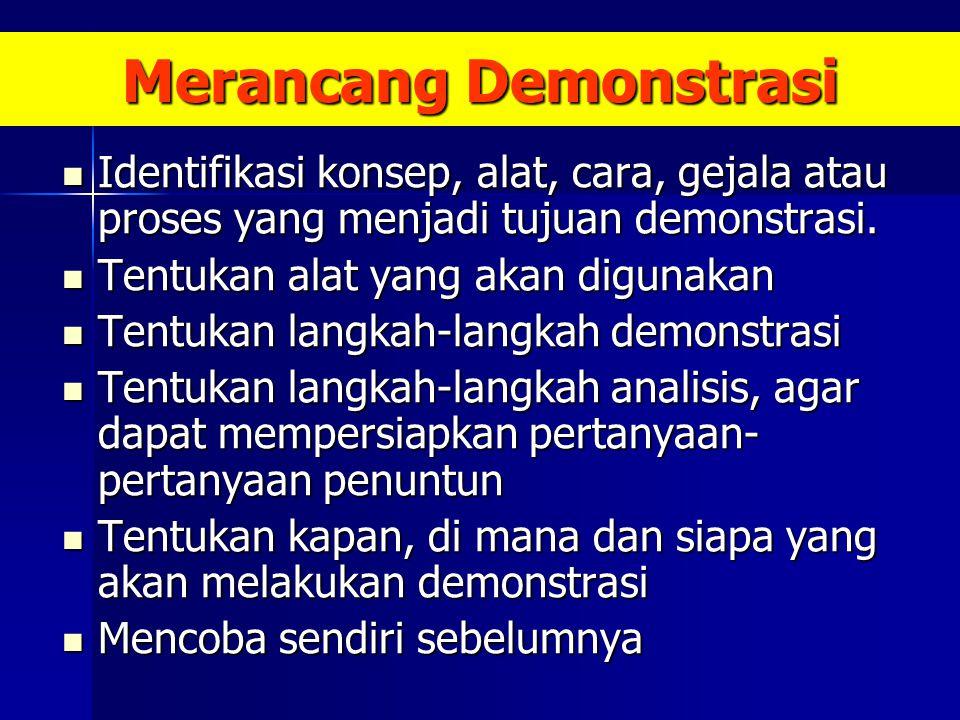 Merancang Demonstrasi Identifikasi konsep, alat, cara, gejala atau proses yang menjadi tujuan demonstrasi.