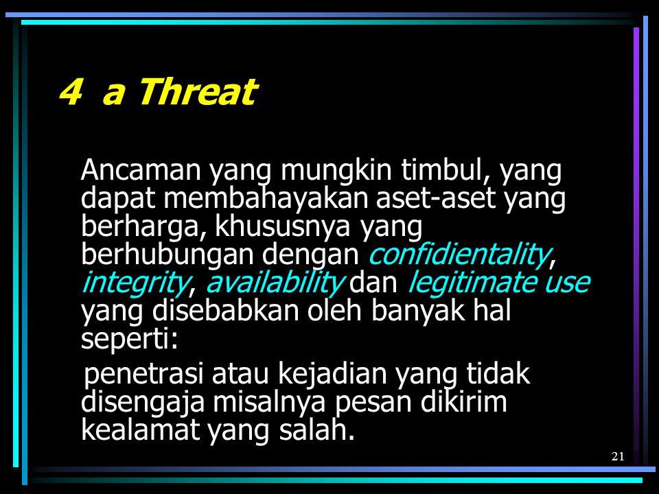 21 4 a Threat Ancaman yang mungkin timbul, yang dapat membahayakan aset-aset yang berharga, khususnya yang berhubungan dengan confidientality, integrity, availability dan legitimate use yang disebabkan oleh banyak hal seperti: penetrasi atau kejadian yang tidak disengaja misalnya pesan dikirim kealamat yang salah.