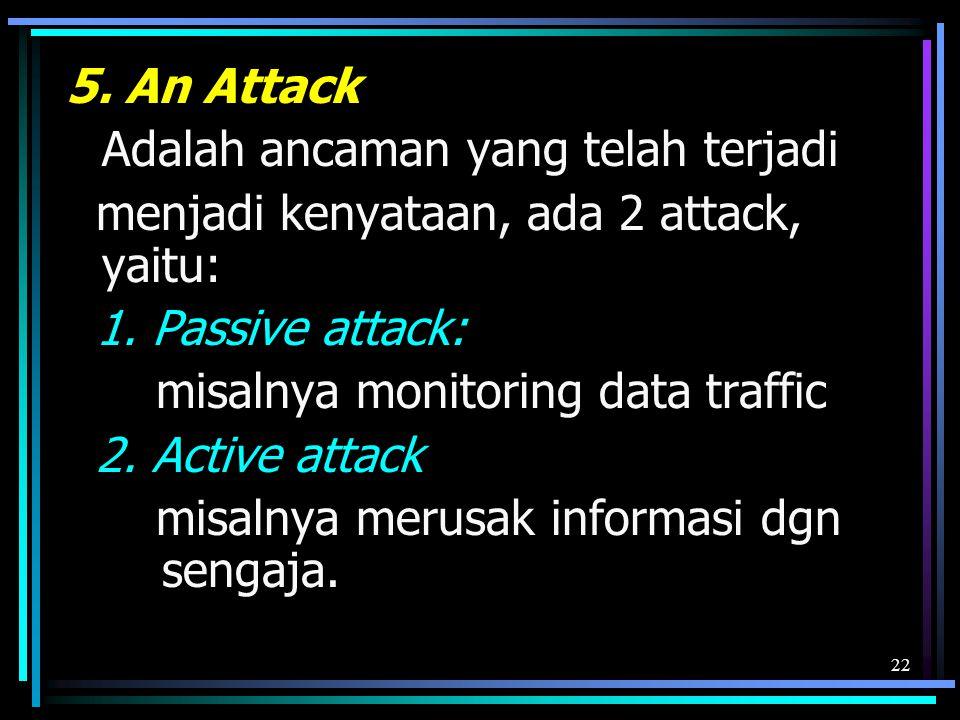 22 5.An Attack Adalah ancaman yang telah terjadi menjadi kenyataan, ada 2 attack, yaitu: 1.