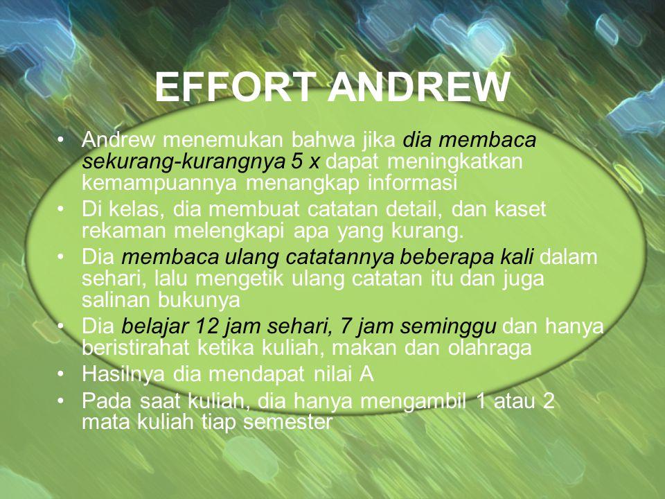 EFFORT ANDREW Andrew menemukan bahwa jika dia membaca sekurang-kurangnya 5 x dapat meningkatkan kemampuannya menangkap informasi Di kelas, dia membuat catatan detail, dan kaset rekaman melengkapi apa yang kurang.