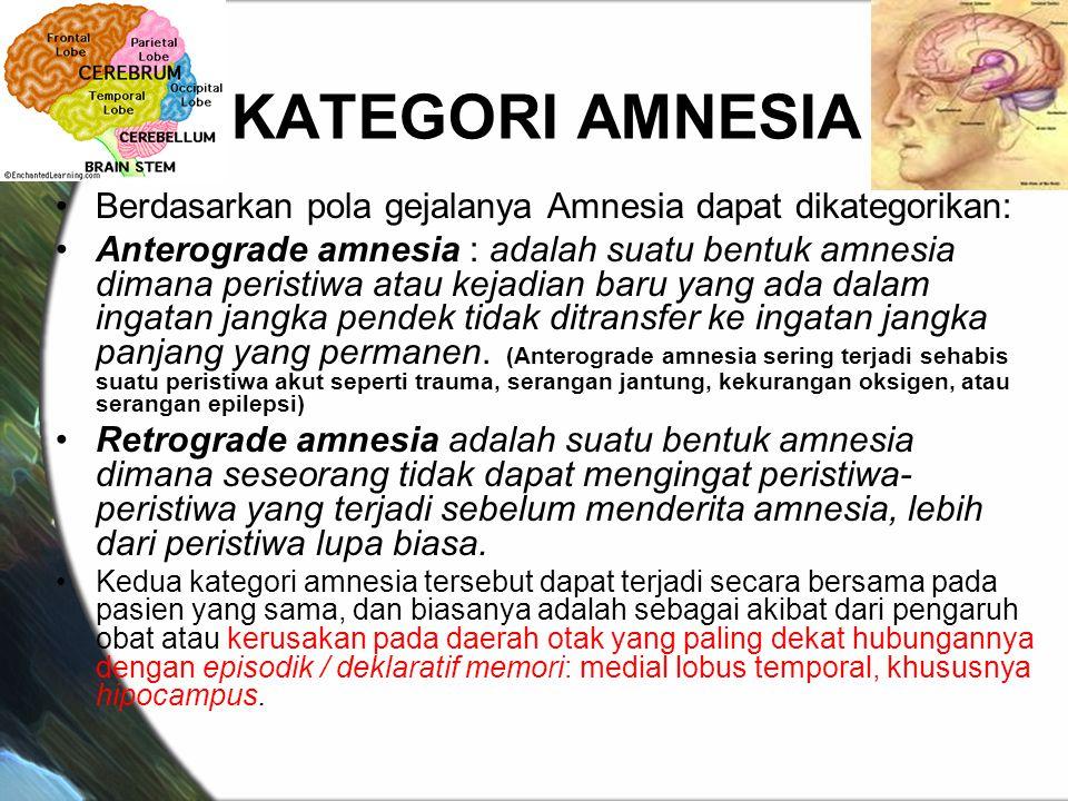 KATEGORI AMNESIA Berdasarkan pola gejalanya Amnesia dapat dikategorikan: Anterograde amnesia : adalah suatu bentuk amnesia dimana peristiwa atau kejadian baru yang ada dalam ingatan jangka pendek tidak ditransfer ke ingatan jangka panjang yang permanen.