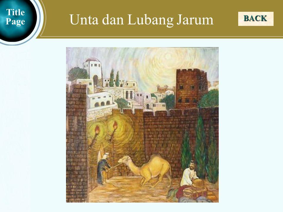 Judea Galilee ChildhoodPereaJerusalem Unta dan Lubang Jarum BACK Title Page