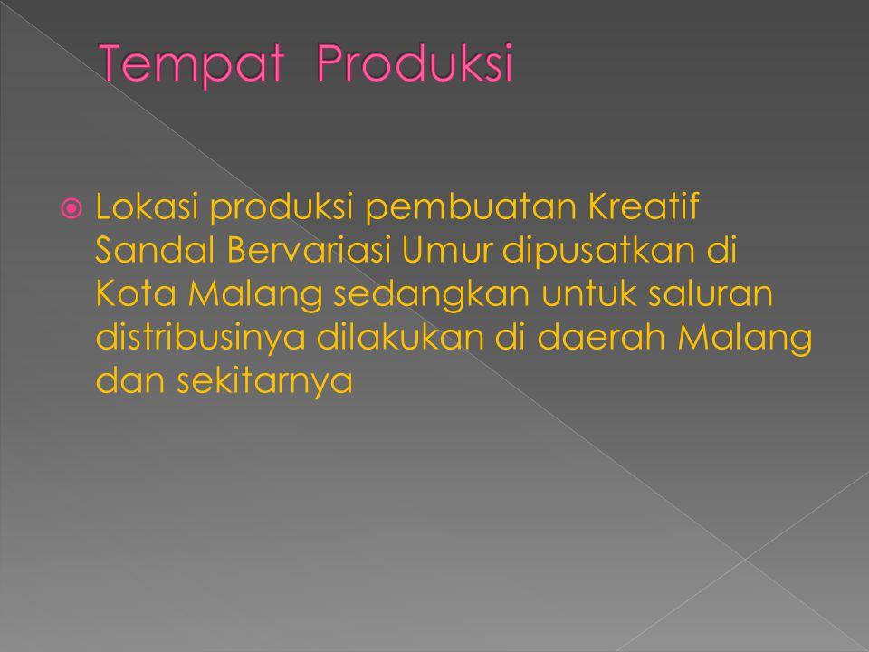  Lokasi produksi pembuatan Kreatif Sandal Bervariasi Umur dipusatkan di Kota Malang sedangkan untuk saluran distribusinya dilakukan di daerah Malang