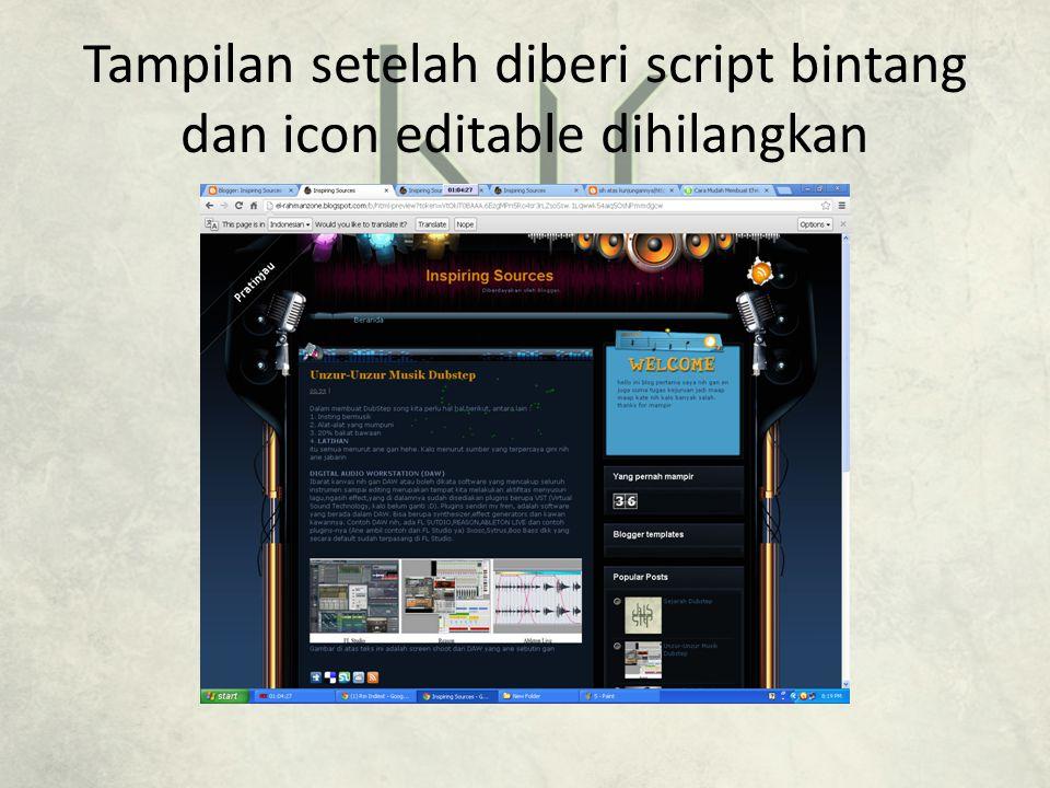 Tampilan setelah diberi script bintang dan icon editable dihilangkan