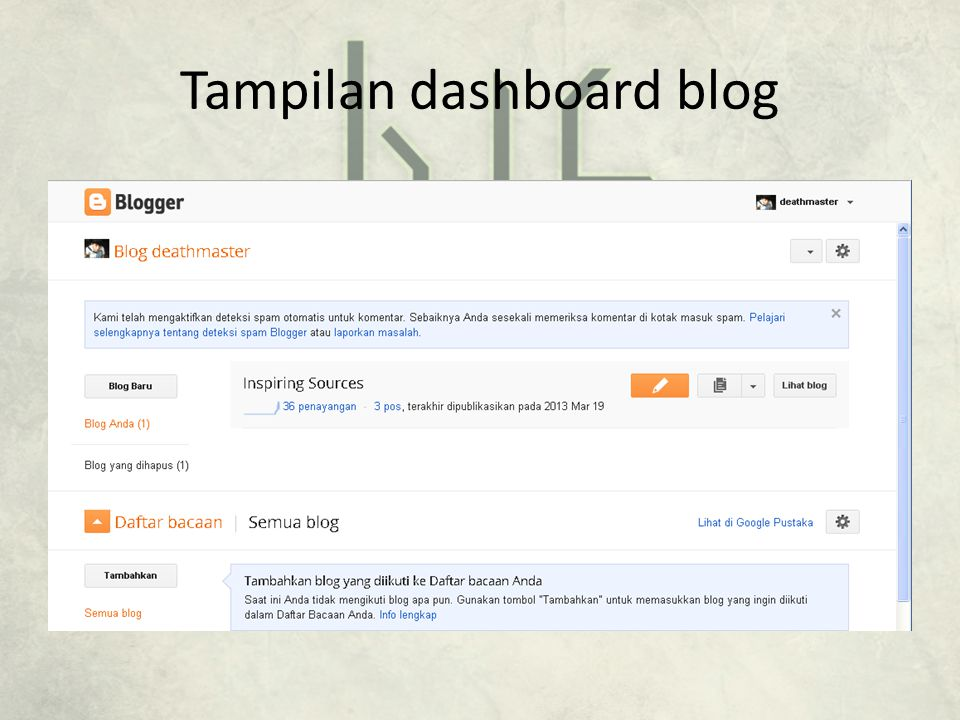 Tampilan dashboard blog