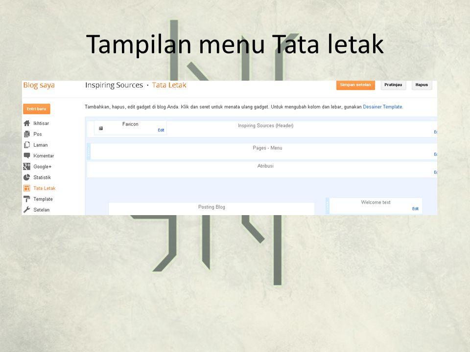 Tampilan menu Tata letak