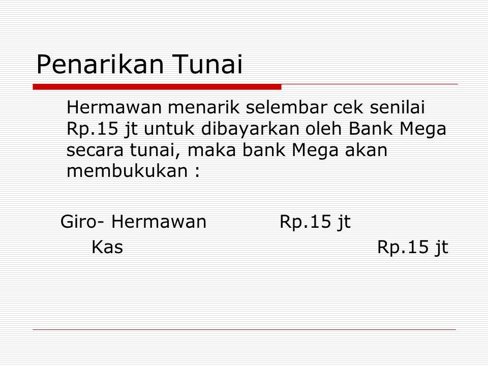 Penarikan Tunai Hermawan menarik selembar cek senilai Rp.15 jt untuk dibayarkan oleh Bank Mega secara tunai, maka bank Mega akan membukukan : Giro- He