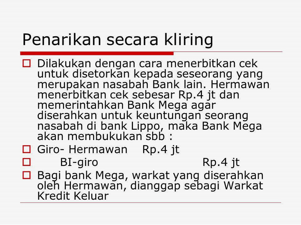 Penarikan secara kliring  Dilakukan dengan cara menerbitkan cek untuk disetorkan kepada seseorang yang merupakan nasabah Bank lain. Hermawan menerbit