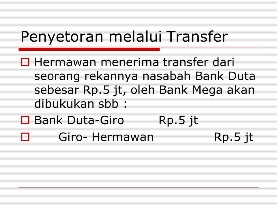Penyetoran melalui Transfer  Hermawan menerima transfer dari seorang rekannya nasabah Bank Duta sebesar Rp.5 jt, oleh Bank Mega akan dibukukan sbb :