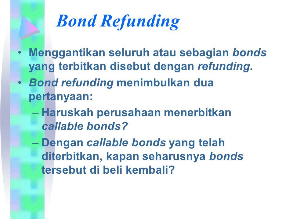 Bond Refunding Menggantikan seluruh atau sebagian bonds yang terbitkan disebut dengan refunding. Bond refunding menimbulkan dua pertanyaan: –Haruskah