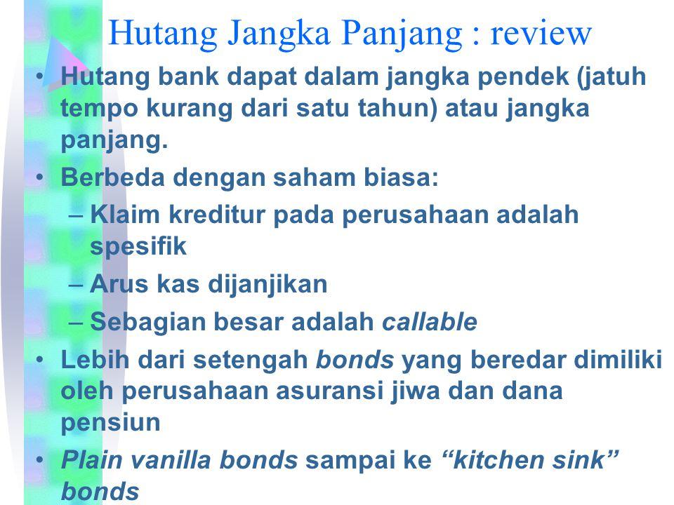 Hutang Jangka Panjang : review Hutang bank dapat dalam jangka pendek (jatuh tempo kurang dari satu tahun) atau jangka panjang. Berbeda dengan saham bi