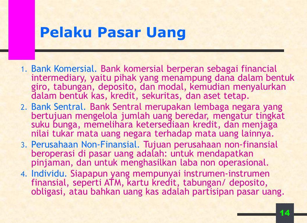 14 Pelaku Pasar Uang 1. Bank Komersial. Bank komersial berperan sebagai financial intermediary, yaitu pihak yang menampung dana dalam bentuk giro, tab