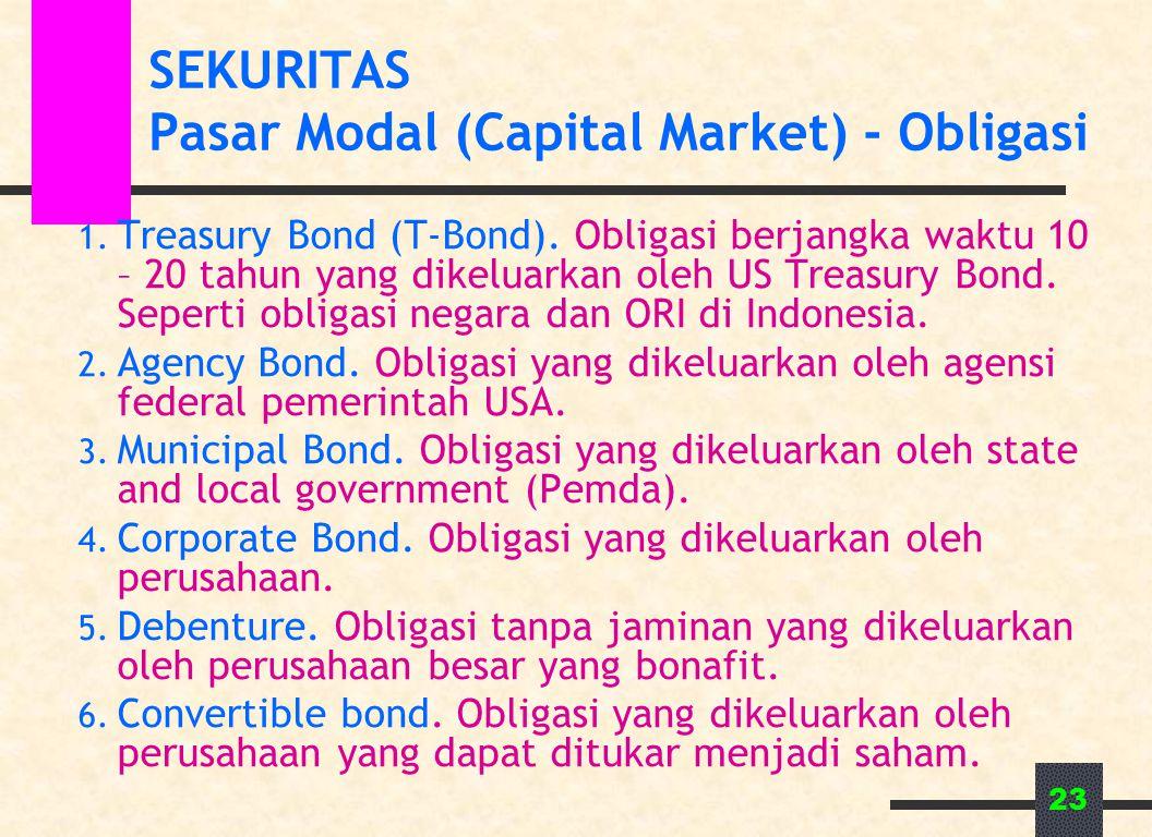 23 SEKURITAS Pasar Modal (Capital Market) - Obligasi 1. Treasury Bond (T-Bond). Obligasi berjangka waktu 10 – 20 tahun yang dikeluarkan oleh US Treasu