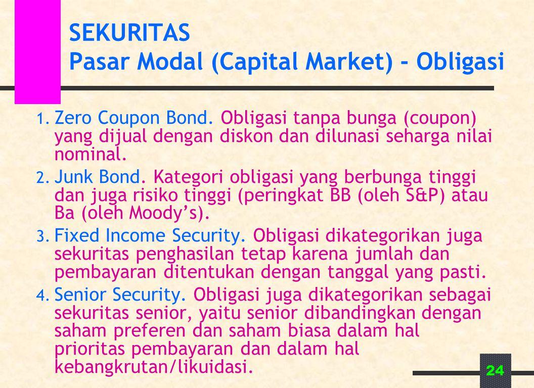 24 SEKURITAS Pasar Modal (Capital Market) - Obligasi 1. Zero Coupon Bond. Obligasi tanpa bunga (coupon) yang dijual dengan diskon dan dilunasi seharga