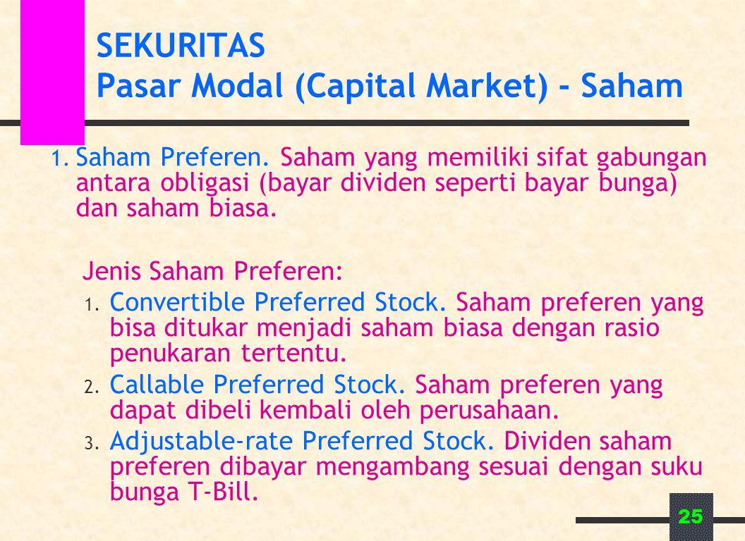 25 SEKURITAS Pasar Modal (Capital Market) - Saham 1. Saham Preferen. Saham yang memiliki sifat gabungan antara obligasi (bayar dividen seperti bayar b