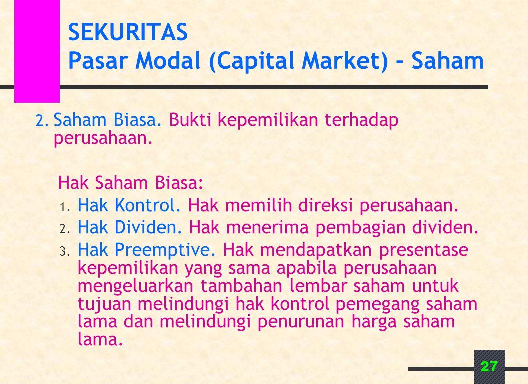 27 SEKURITAS Pasar Modal (Capital Market) - Saham 2. Saham Biasa. Bukti kepemilikan terhadap perusahaan. Hak Saham Biasa: 1. Hak Kontrol. Hak memilih
